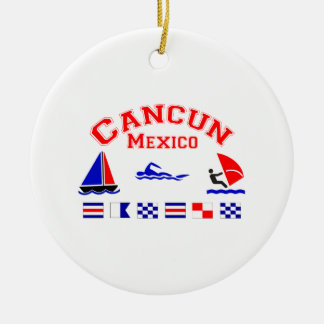 Cancun Mexico Signal Flags Ceramic Ornament