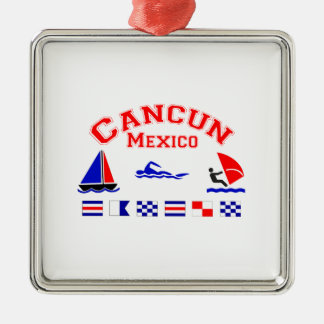 Cancun Mexico Signal Flags Christmas Tree Ornament