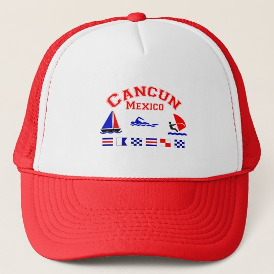 Cancun Mexico Signal Flags Trucker Hat