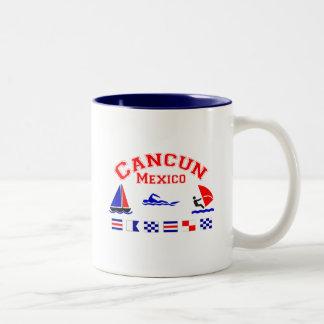 Cancun Mexico Signal Flags Two-Tone Coffee Mug