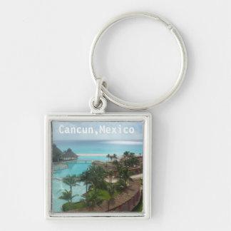 Cancun Mexico Silver-Colored Square Keychain