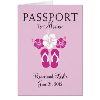 Cancun, Mexico Wedding Passport Invitation