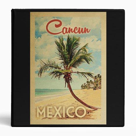 Cancun Palm Tree Vintage Travel 3 Ring Binder