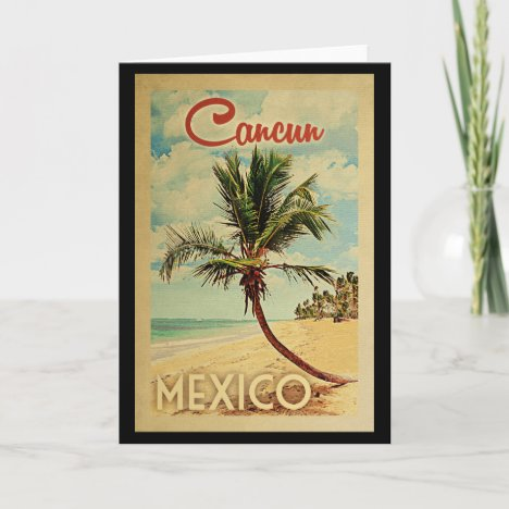 Cancun Palm Tree Vintage Travel Card