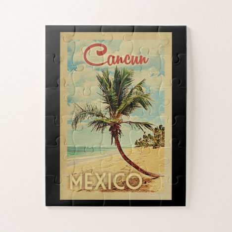 Cancun Palm Tree Vintage Travel Jigsaw Puzzle