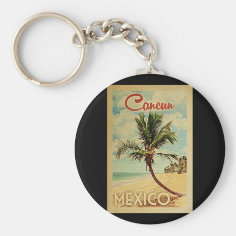 Cancun Palm Tree Vintage Travel Keychain
