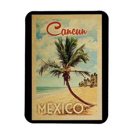 Cancun Palm Tree Vintage Travel Magnet