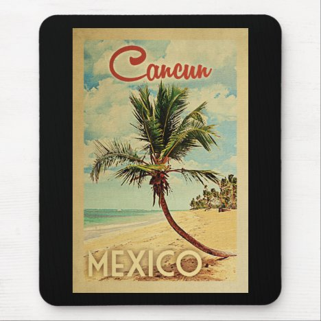 Cancun Palm Tree Vintage Travel Mouse Pad