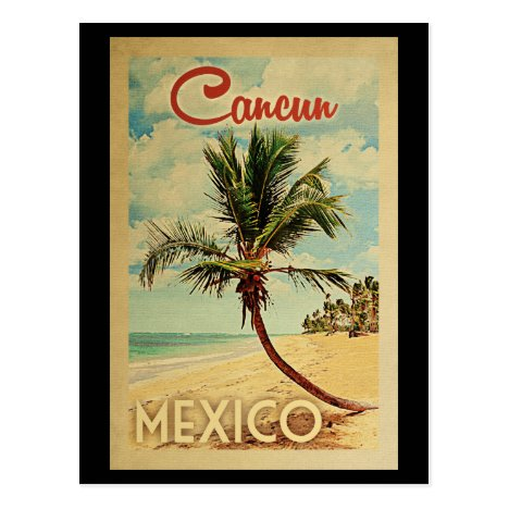 Cancun Palm Tree Vintage Travel Postcard