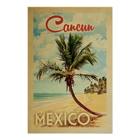 Cancun Palm Tree Vintage Travel Poster