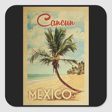 Cancun Palm Tree Vintage Travel Square Sticker