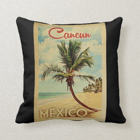 Cancun Palm Tree Vintage Travel Throw Pillow