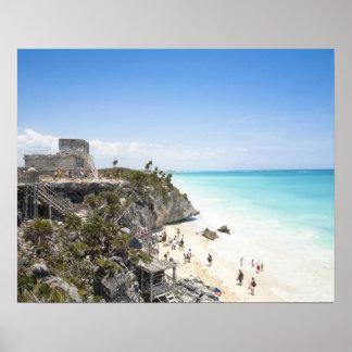 Cancun, Quintana Roo, México - ruinas en una colin Póster