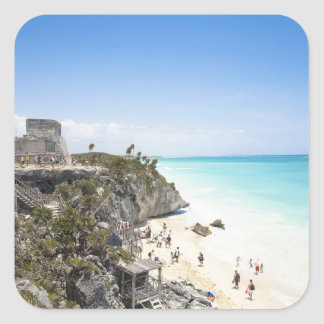 Cancun, Quintana Roo, Mexico - Ruins on a hill Square Sticker