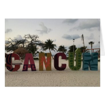 Beach Themed Cancun Sign – Playa Delfines, Mexico Card