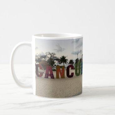 Beach Themed Cancun Sign – Playa Delfines, Mexico Mug