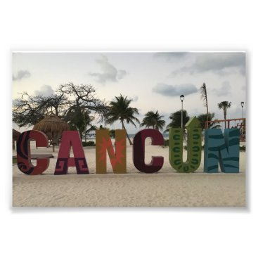 Beach Themed Cancun Sign – Playa Delfines, Mexico Photo Print