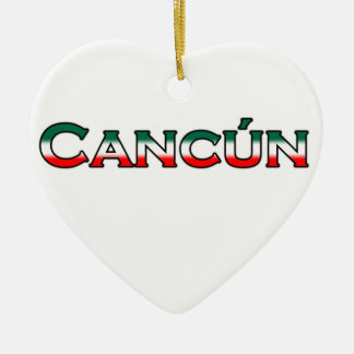 Cancun text logo christmas tree ornament