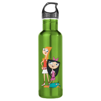 Candace, Isabella, and Agent P Water Bottle