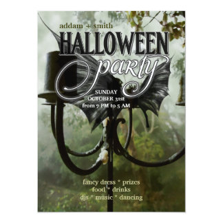 Candelabra Bat Wings Forest  Halloween Party Cards