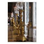 Candelabras de oro, castillo francés de Versalles Tarjeton