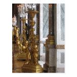 Candelabras de oro, castillo francés de Versalles Postal