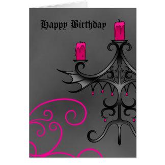 Candelabros góticos de lujo en rosa en cumpleaños tarjeta de felicitación