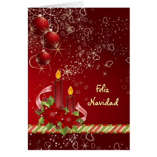 Candels poinsettia Spanish Christmas Greeting Card