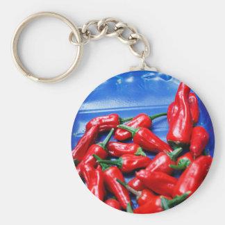Candente y azul: pimientas de chiles llavero redondo tipo pin