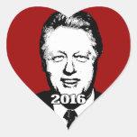 Candidato 2016 de Bill Clinton Pegatina En Forma De Corazón