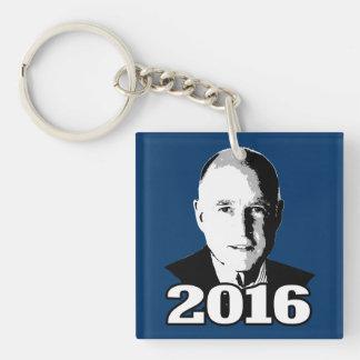 Candidato 2016 de JERRY BROWN Llavero Cuadrado Acrílico A Doble Cara