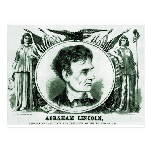 Candidato presidencial de Abraham Lincoln Tarjeta Postal