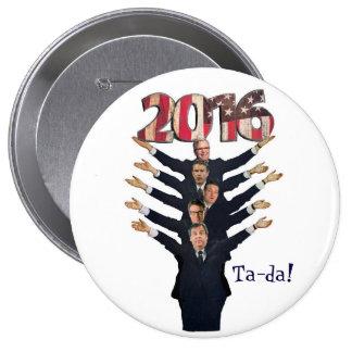 Candidatos del GOP 2016 a presidente Pin Redondo De 4 Pulgadas