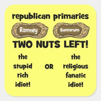 candidatos republicanos pegatina cuadrada