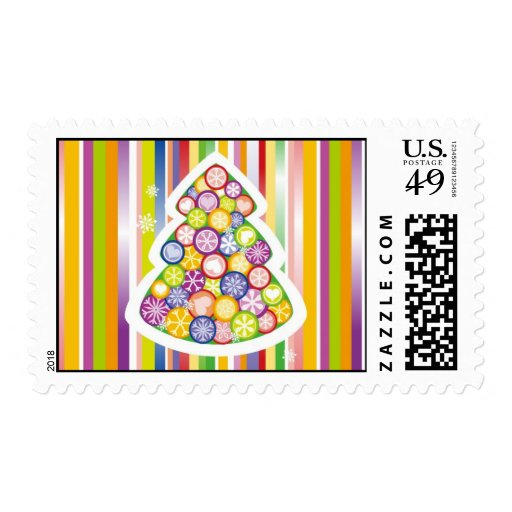 Candied Christmas Tree Postage Stamps