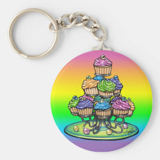 Candied Rainbow Cup Cake Party Keychain