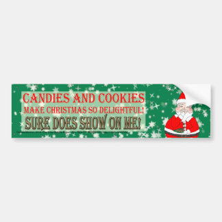 Candies and Cookies Funny Christmas Santa Car Bumper Sticker