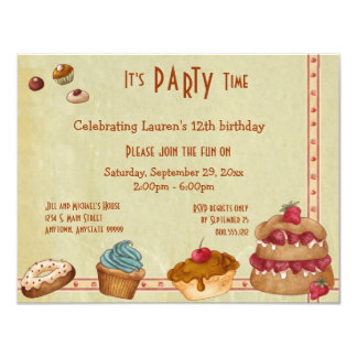"""Candies And Sweet Treats Party Invites 4.25"""" X 5.5"""" Invitation Card"""