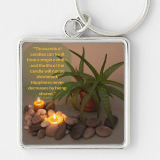 Candle Aloe Photograph and Buddha Quote Keychain
