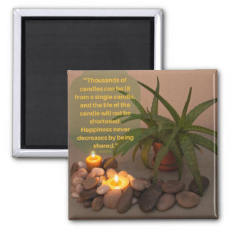 Candle Aloe Photograph and Buddha Quote Magnet