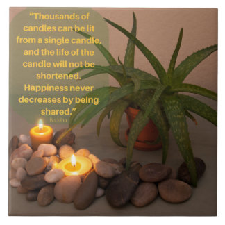 Candle and Aloe Photograph with Buddha Quote Ceramic Tile