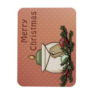 Candle and baubles rectangular photo magnet