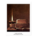 Candle And Books By Georges De La Tour Postcard