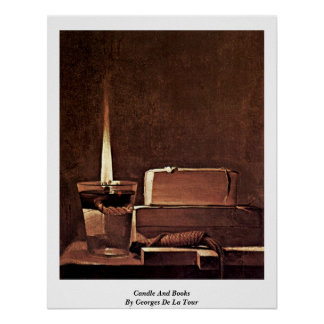 Candle And Books By Georges De La Tour Print