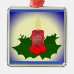 Candle And Holly Christmas Ornament