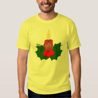 Candle And Holly Christmas T-Shirt