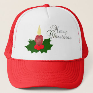 Candle And Holly Merry Christmas Hat