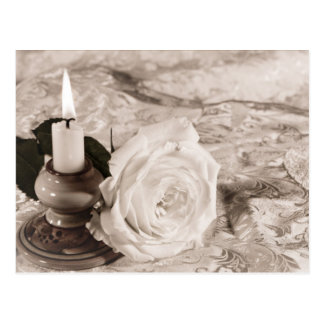 Candle and rose postcard