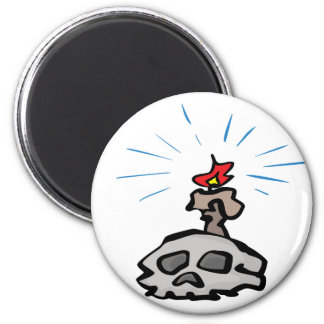 Candle and Skull 2 Inch Round Magnet