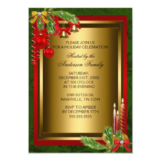 Candle & bauble Xmas Holiday Party Invitation